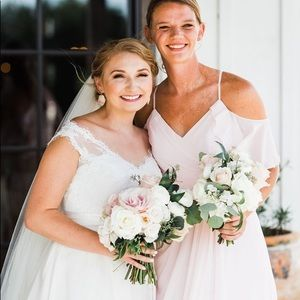 Azazie blushing pink bridesmaid dress